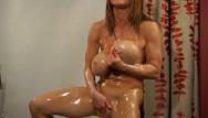 Bodybuilding hairy Busty bodybuilder oil bath