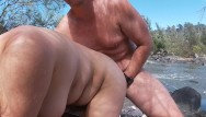 Nude rock video - Amateur couple risky public nude beach rock sex