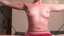 Sexy Fit Girl Masturbates While Exercising With Mom in Next Room!