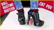 High heel bondage galleries - Ballbusting cock trampling and cbt in high heel boots shoejob sockjob pov