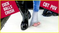 Bdsm penis crushing Ballbusting and cock balls crush in patent leather boots and socks cbt pov