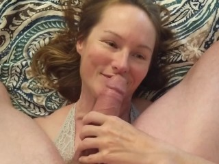 Fucking her mouth and feeding her my cum while she touches herself. POV