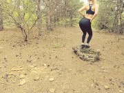 Horny teen suck and fuck in public forest. POV amateur outdoor sex