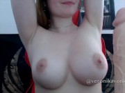 Young girl with Massive boobs titfucking a big dildo and strip