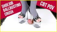 Cum shoejob - Cockcrush cock balls trampling ballbusting cbt pov high heels shoejob era