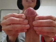 Great handjob by petite Asian girl. Cumshot hit camera!