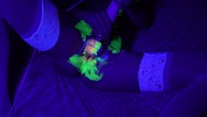 Female orgasm contraction movie - Playing with glow paint having contracting orgasms with a surprise ending