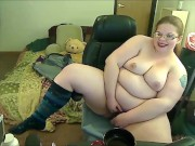 Sexy Redhead BBW Striptease and Dildo Fuck on Cam