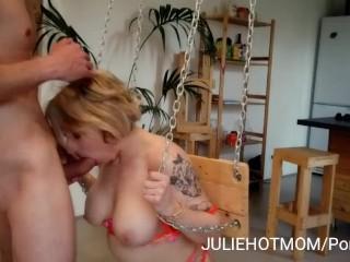 Acrobatic fuck 1: my stepmom sucks my huge cock on the swing