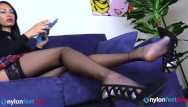Fetish smoking heels Leggy brunette in high heels and stockings shoeplay and foot show