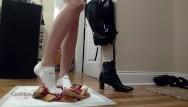 Sexy sock toe Sensually crushing cherry pies in white socks