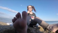 Control teen Tiny feets worship , pussy control pissing on beach