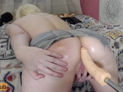 Fast Fuck Machine Hot Teen - Loud Orgasm on the Bed with Big Toys