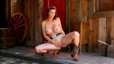 Busty cowgirl Alexis Fawx striptease and kinky in showing her sexy body