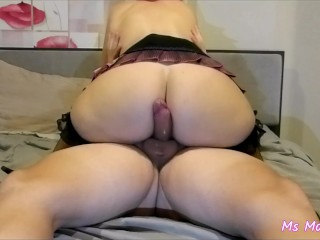 Sexy outfit, doggy-style and cowgirl sex, femdom ruined orgasm on ass