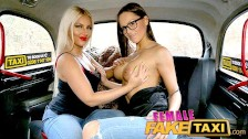 Female Fake Taxi lesbians admire each others beautiful huge boobs
