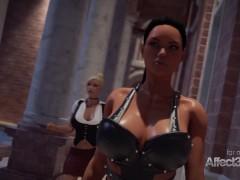 Hot Ash-blonde And Her Lesbo High Stilettos Ebony Gf Having Futa Sex