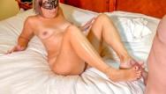 Transsexual foot jobs - Sexy curvy mature milf sucks, gives foot job, jerks you off, cum on tits