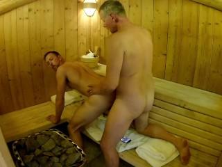 Mature Daddy Breeds Boy in Public Sauna — Older Younger Bareback Fuck