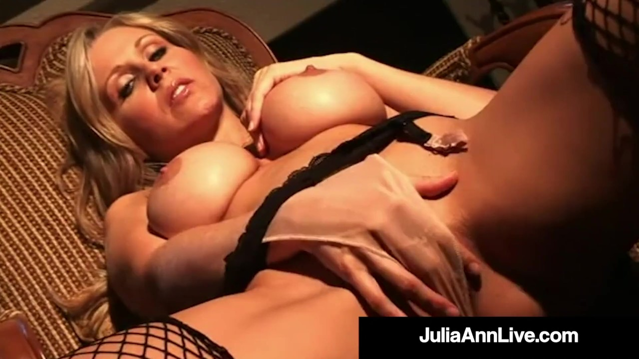 Hot Cougar Julia Ann Finger Fucks Herself In Foxy Fishnets To Orgasm!