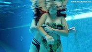 Hot lesbian sex in public Underwater in the public pool two hot lesbos