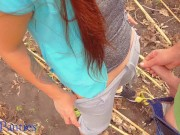 Cum in my panties in a sunflower field
