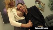 Boob julia mile - Big boobed milf julia ann hugs lucky dude milks his hard cock