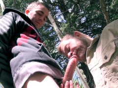 huge cock gets swallowed outdoors by spunk sucker – swallowing a big load