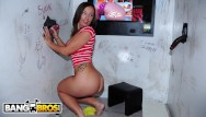 Free hole in wall blowjobs porn - Bangbros - random cocks poking through hole in the wall for hungry milf