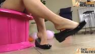 Asian girls foot fetish galleries Barefoot girl shoeplay in shiny ballet flats