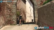 Pantyhose and panty movies Redhead tourist in pantyhose shows panties in public