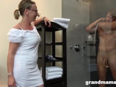 Gorgeous Granny Rides Twink Like a Teen