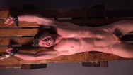 Fetish pillory whipping Uncut muscle jock cums after brutal whipping stretching - dreamboybondage