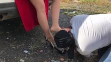 Slave lick shoes mistress pantyhose nylon tights foot fetish femdome