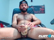 Flirt4Free - Hevan Brooke - Hairy Latino Fucks and Cums in His Pocket Pussy