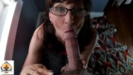 Cock fat mature Sexy milf wearing glasses sucks and drains a fat cock