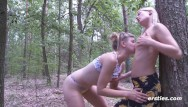 Sex freak of nature - Nature walk in the woods turns into strap on hot sex session