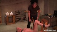 Bdsm device ball crusher cock stretcher Bound submissive dominated by hardcore maledom master and various devices