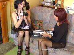 Slim Long Legged Cougar Plays With 2 Aged Crossdressers