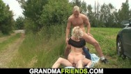 Mature old sucking woman Blonde sucks and rides at same time outdoors