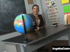 Big Hooter Chubby Educator Angelina Castro Tells Roxanne To Provide A Footjob!