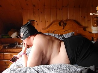 BBW smoking and watching porn while humping pillow with big orgasm.