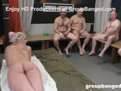 Gangbang Approach Rubdown Finishes Up On Milf's Face