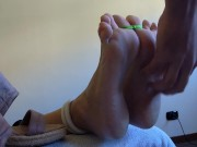 MILF LOVES TO BE TICKLED!!! Tied cute soles oiled and tickled. She loves it