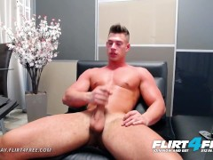Flirt4Free - Aiden Kay - Hot Blue Eyed College Stud Jerks His Huge Cock
