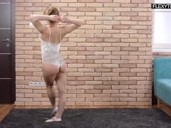 Russian babe gymnast Olesya with dildo