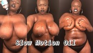 Amateur female body building Slow motion bbw rubbing oil on big natural tits body
