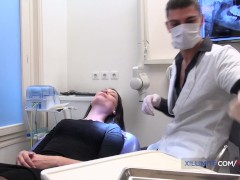French Black-haired Drills Her Dentist