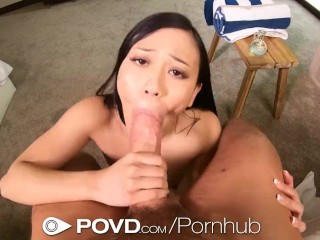 POVD Tiny Tight Pussy Asian Masseuse Fucks Big Dick Client