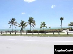 Huge Donk Angelina Castro & Bedeli Buttland Faux-cock Bang On Beach!
